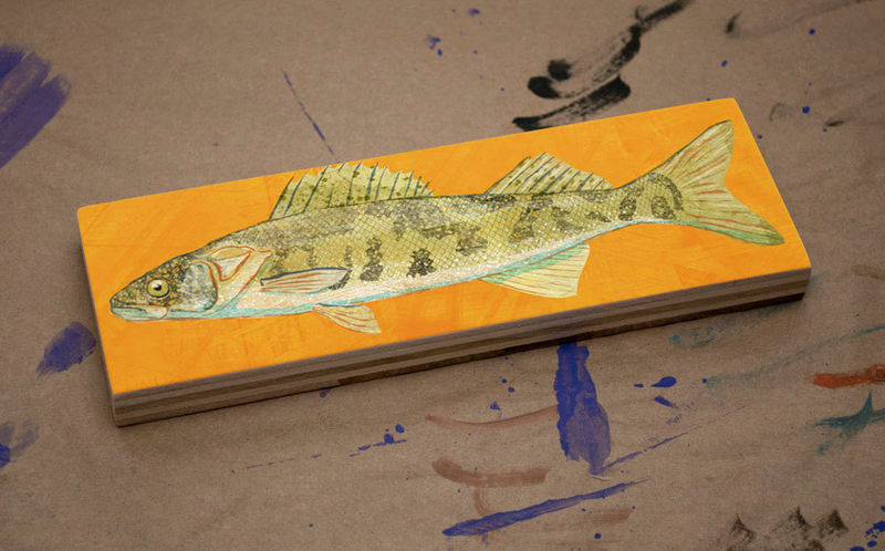 Freshwater Fish Art Medium Art Block - Walleye Print - 9 in x 3 in Fish Wall Decor Fisherman Gift - Fathers Day Gift for Dad - product images  of