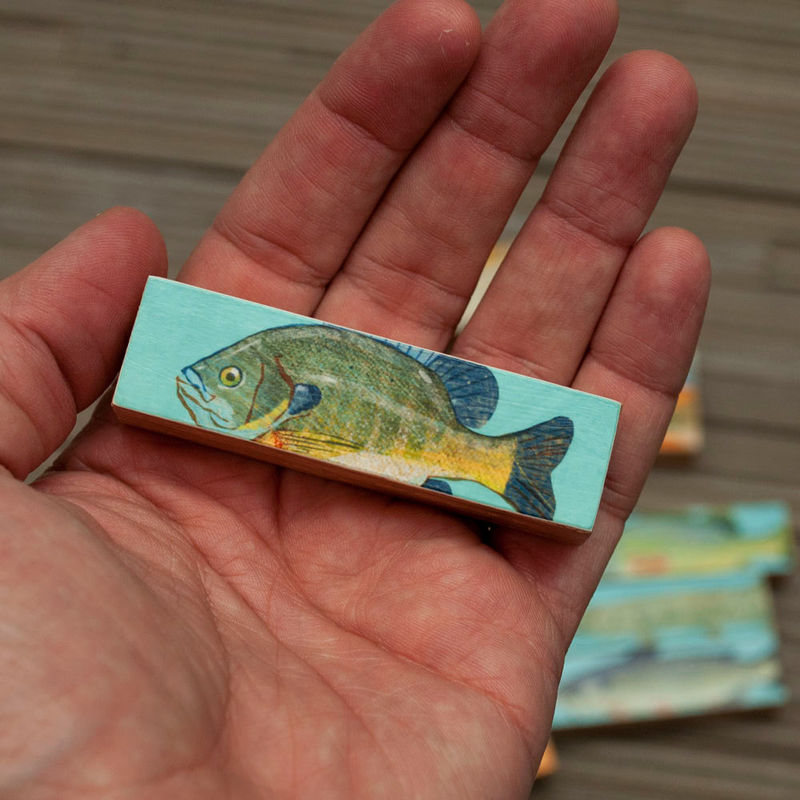 Small Art Fish Prints - Fish Sticks - Stick Fish Art Block Set of 3 Gifts for Fishermen - Gifts for Dad - Fishing Art - Freshwater Fish Art - John W. Golden ...