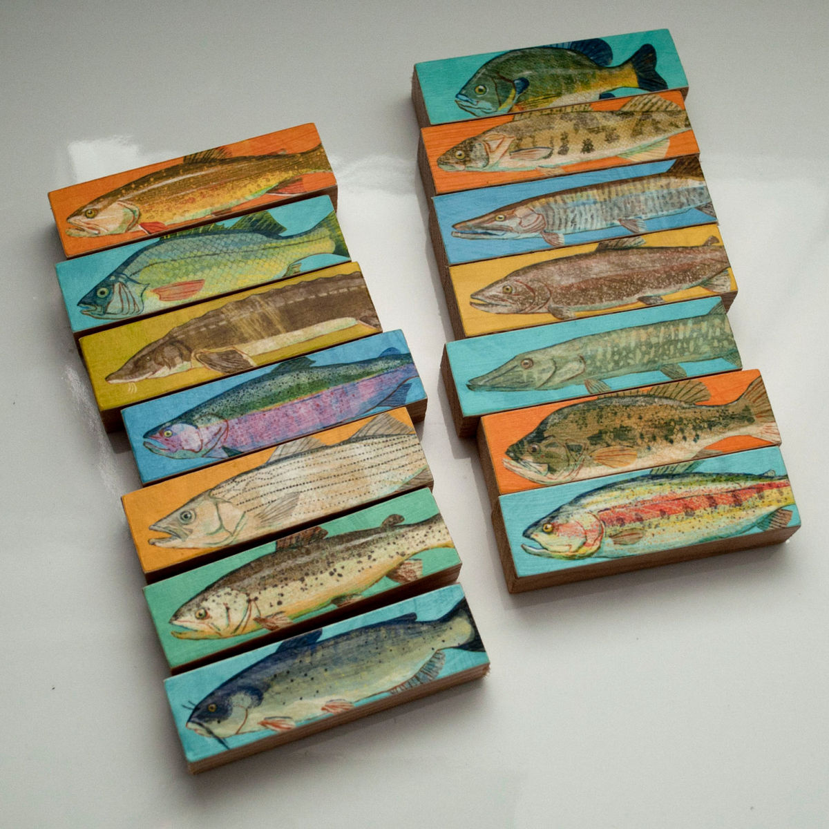Whole mess of fish sticks freshwater fish art block set for Fishing gifts for dad