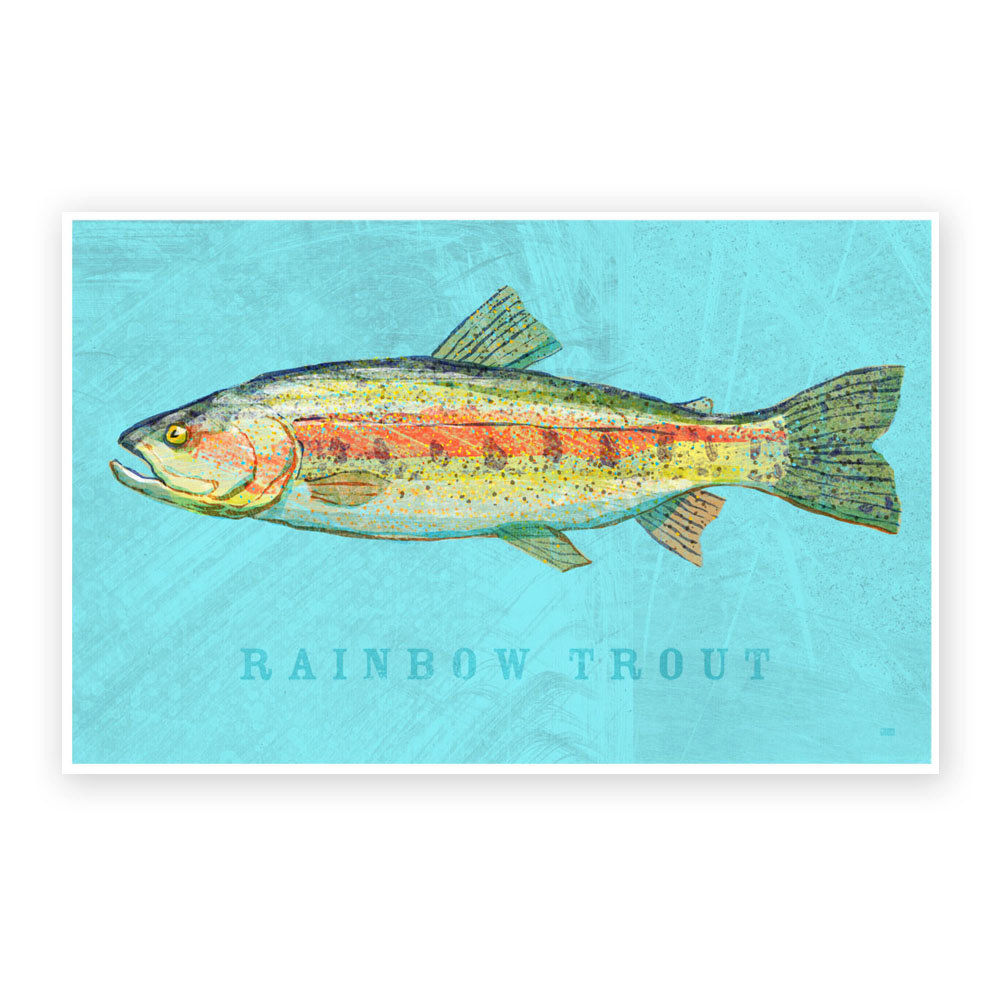Freshwater fish art - Rainbow Trout Art Print Freshwater Fish Art 8 X 12 Fish Decor Lake House Decor Man Cave Art Fathers Day Gift For Dad Gift