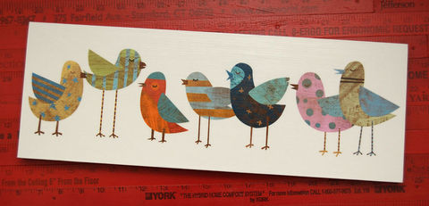 Bird,Art,-,Big,Flock,No.,1,Block,6.6,in,x,18,Print,Mounted,on,wooden,block,Illustration,Digital,wood,camera,birds,collage,reproduction,print,mounted,paper,ink,glue,sealer