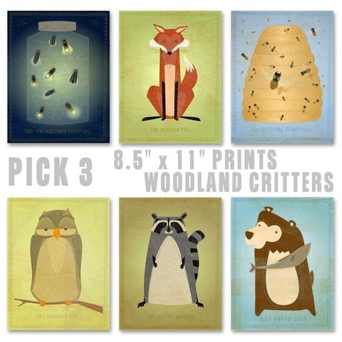Woodland,Critters,Series,Set,of,3,Illustrations,8.5,in,x,11,Children,Art,Print,kids,kid,print,cute,animal,hedgehog,bear,possum,art,digital,nursery,paper