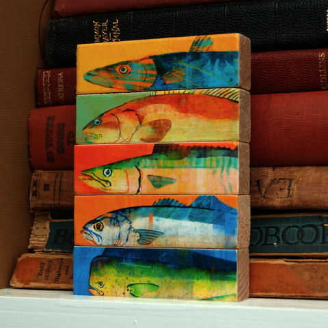 Fish,Sticks,-,Saltwater,Art,Block,Set,of,5,Illustration,Digital,wood,block,fathers_day,dad,fathers_day_gift,saltwater,fish,fisherman,fishing,mackerel,marlin,mahi_mahi,paper,ink,glue,sealer