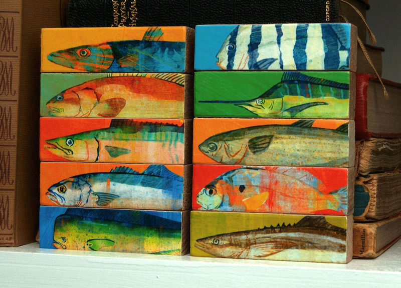 Fish Sticks - Saltwater Fish Art Block Set of 5 - product images  of