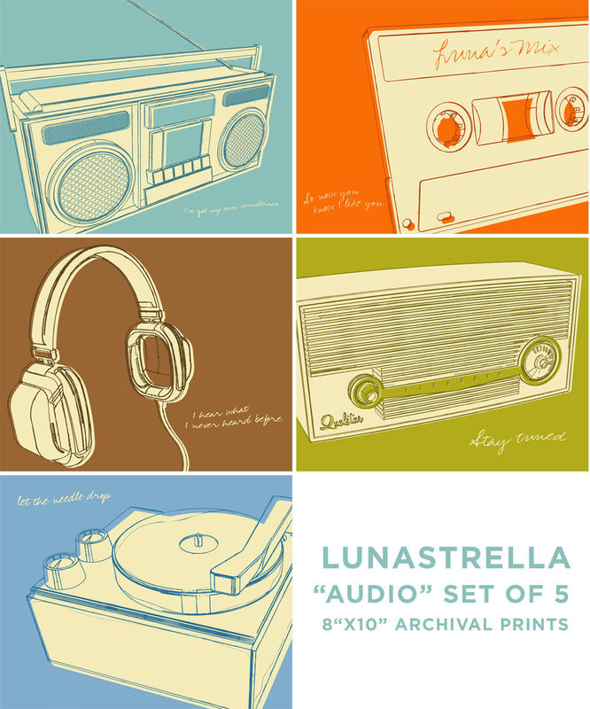 Music Art - Lunastrella Audio and Music Set of Five 8 in x 10 in Prints - product images  of