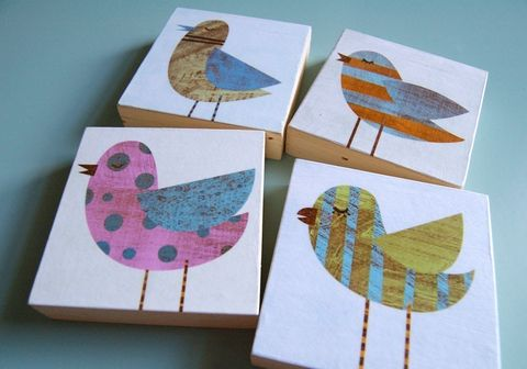 Collage,Bird,Art,Blocks,-,Set,of,Four,3,in,x,Illustration,Digital,reproduction,digital,bird,collage,block,small,blue,green,pink,polka_dot,pastel_decor,bird_decor,paper,wood,ink,sealer