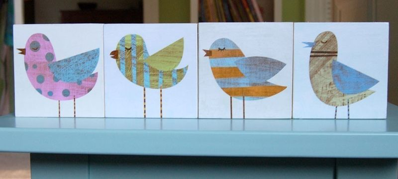Collage Bird Art Blocks - Set of Four - 3 in x 3 in - product images  of