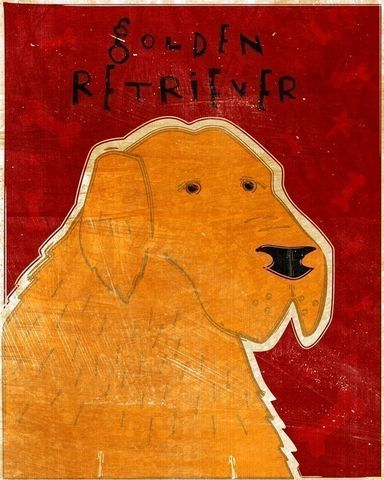 Golden,Retriever,Print,8,x,10,Art,Illustration,digital,whimsical,cute,dog,retriever,animals,animal,golden,paper,ink