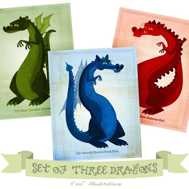 Dragon Series - Set of 3 Illustrations - 8 in x 10 in Prints - product images  of