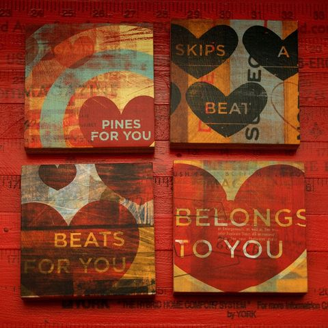 Heart,Collage,Series,Art,Blocks,-,Set,of,4,in,x,Holidays,Valentine,reproduction,wood,block,heart,love,valentine_men,valentine_women,valentines_day,art,red,paper,ink,glue,sealer