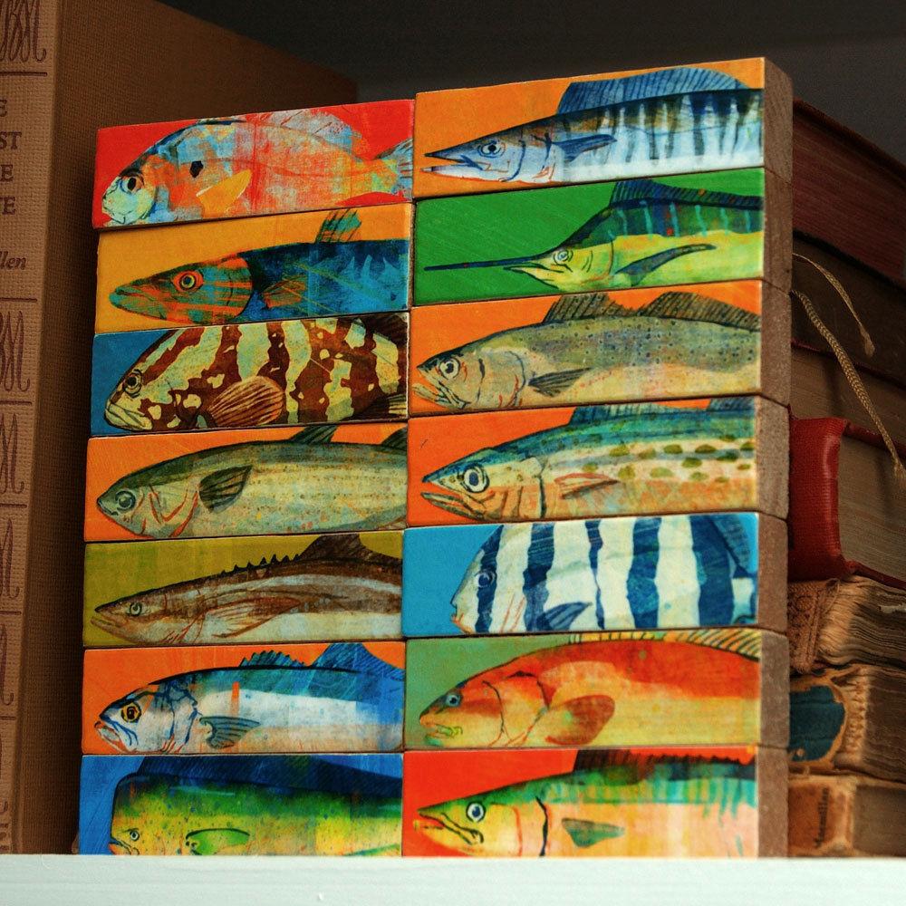 Wood Fish Art Fish art block set of 14
