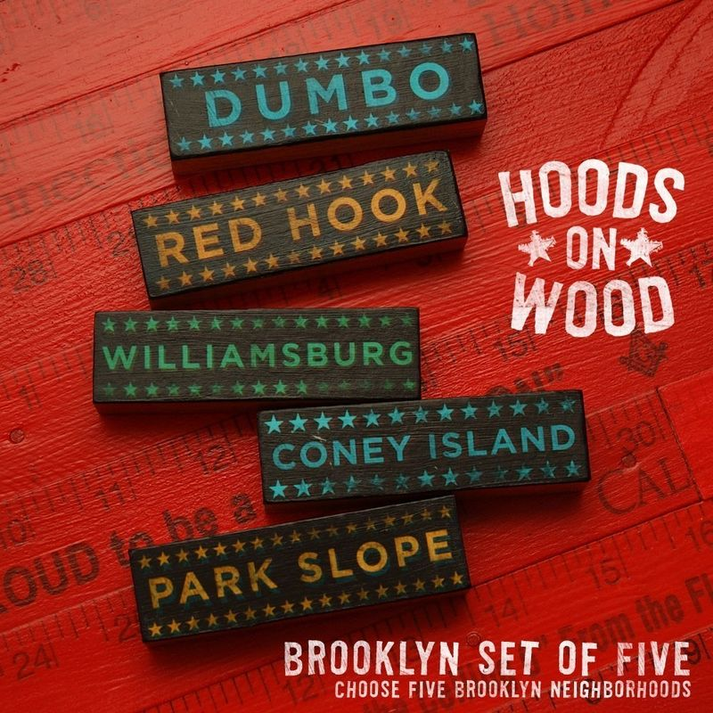 Brooklyn Hoods on Wood - Five Art Block Set - Pick the Hoods - product images  of