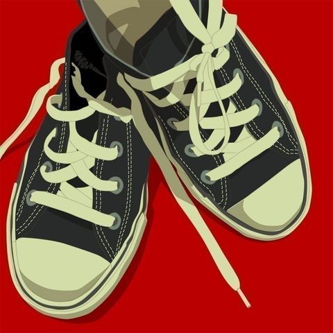 Lowtops,Black,on,Red,Print,8,in,x,Square,Art,Illustration,digital,kitsch,retro,vintage,shoes,lowtops,paper,computer