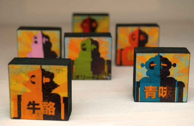 PiccoloBlocco - Little Block - Minibot Art Blocks Set of 6 - 1.5 in x 1.5 in - product images  of