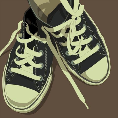 Lowtops,Black,on,Brown,8x8,Square,Art,Illustration,Print,digital,kitsch,retro,vintage,shoes,lowtops,paper,computer
