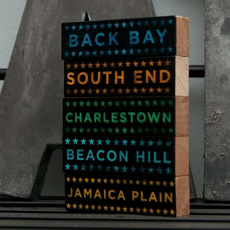 Boston Hoods on Wood - Five Art Block Set - Pick the Hoods - product images  of