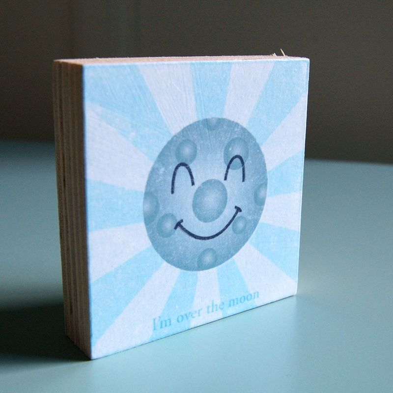 Happy Planets - World, Sunshine and Moon Art Blocks - Set of 3 - 3 in x 3 in - product images  of