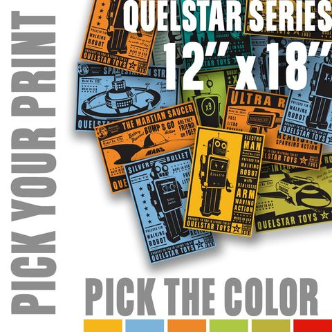 Quelstar,Series,Pick,Your,Print,,a,Color,-,12,in,x,18,Art,Illustration,Digital,digital,paper,print,cute,children,rocket,robot,space,customize,ink