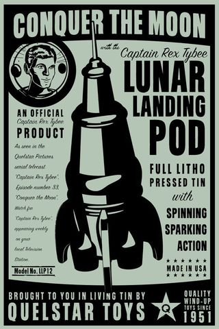 Lunar,Landing,Pod,Tin,Toy,Rocket,Box,Art,Print,8,in,x,12,Digital,digital,paper,print,cute,art,children,rocket