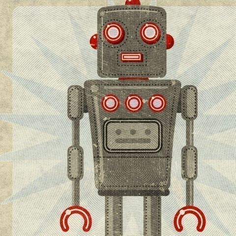 Oscar,Box,Art,Robot,Print,8,in,x,10,Illustration,digital,john_w_golden,robot,science_fiction,gray,grey,red,oscar,toy_robot,paper,computer