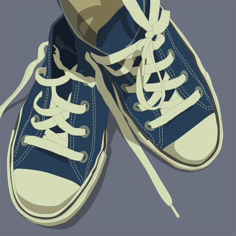 Lowtops,Blue,on,Gray,8x8,Square,Art,Illustration,Print,digital,kitsch,retro,vintage,shoes,lowtops,blue,gray,paper,computer
