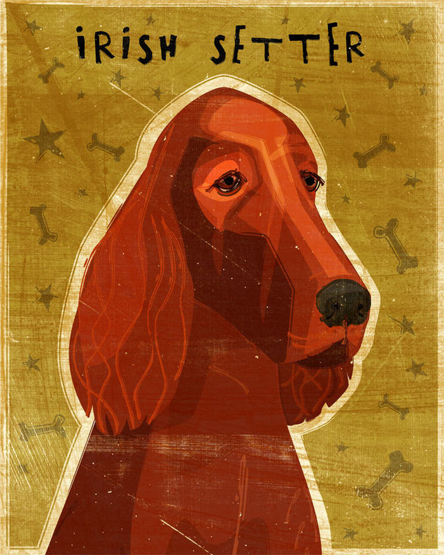 Irish Setter Dog Art Print - Various Sizes - product images