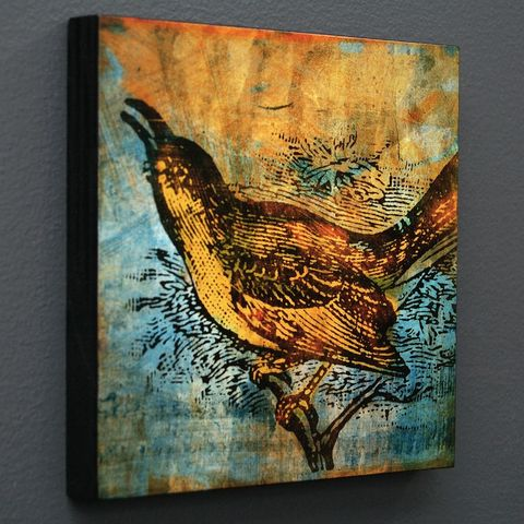 Bird,Collage,Series,Art,Block,-,Pick,the,Print,6,in,x,Digital,wood,block,gift,bird,colorful,swallow,vintage_illustration,bird_decor,glue,paper,ink,sealer