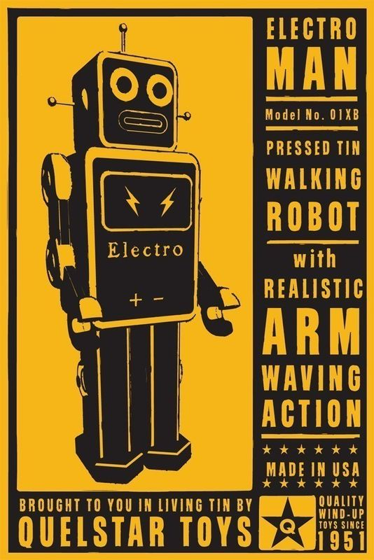 ElectroMan Tin Toy Robot Box Art Print 8 in x 12 in - product images