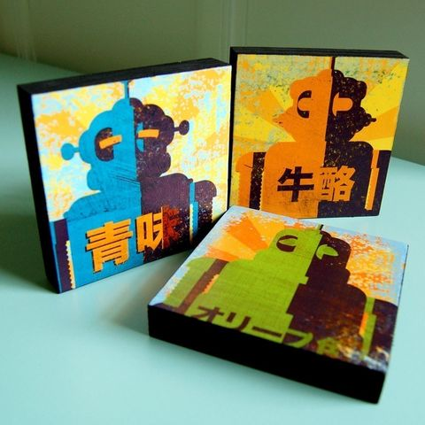Minibot,Series,Art,Blocks,-,Set,of,3,4,in,x,Illustration,Digital,reproduction,wood,block,minibot,robots,paper,ink,glue,sealer