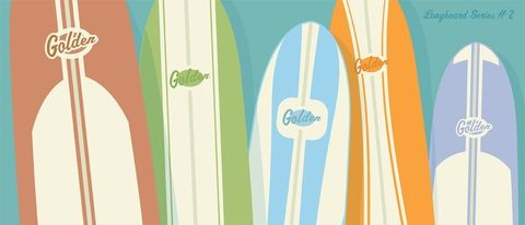 Golden,Longboards,Surfboard,Print,No.2,6,in,x,14,Art,Illustration,paper,print,color,faded,tropical,surf,beach,ocean,surfboard,surfing,longboard,orange,aqua