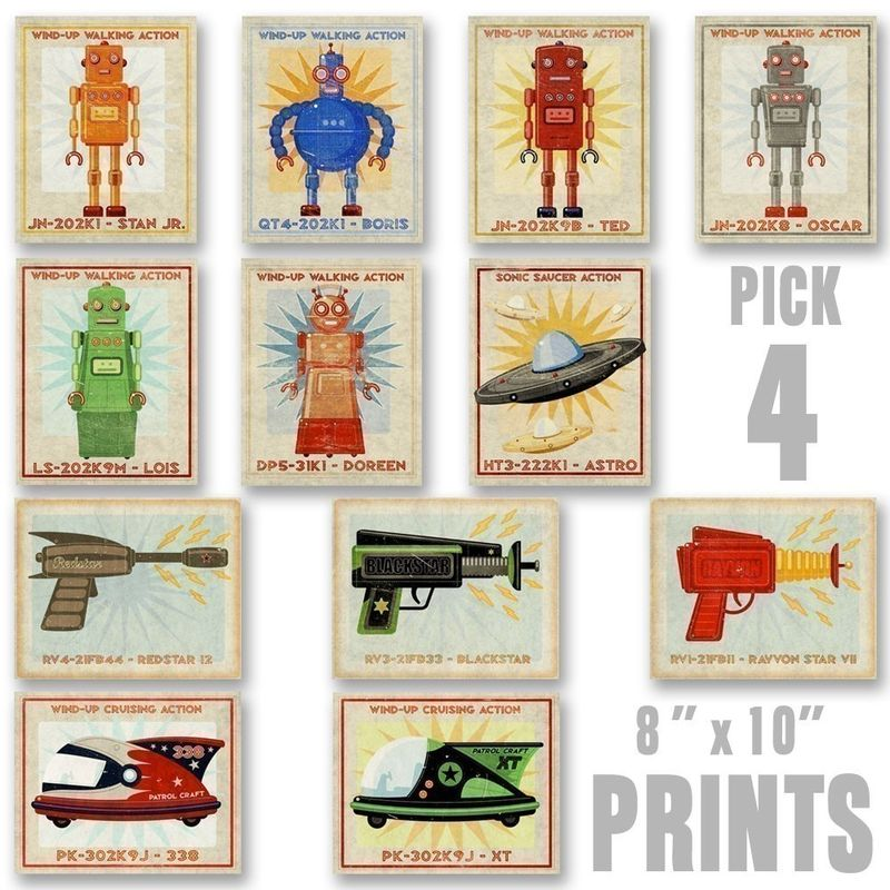 Robots, Rayguns and Racers Set of 4 Prints - Pick your Mix - 8 in x 10 in - product images  of