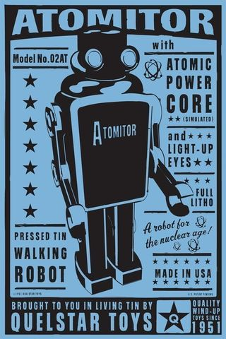 Atomitor,Tin,Toy,Robot,Box,Art,Print,8,in,x,12,Illustration,Digital,digital,paper,print,robot,cute,art,children