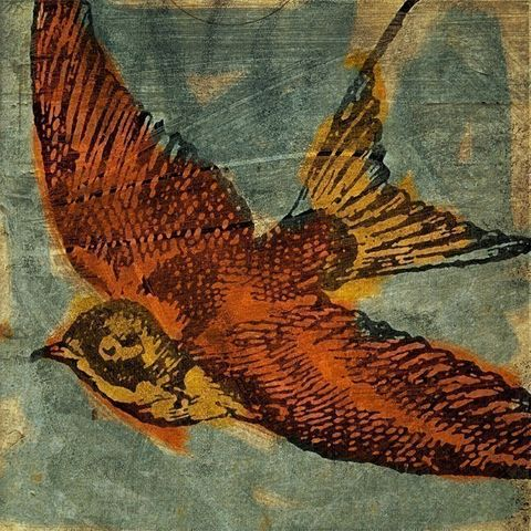 Bird,Collage,No.,1,8,in,x,Print,Art,Illustration,painting,mixed_media,altered,vintage,bird,animal,johnwgolden,blue,yellow,orange,paper,camera