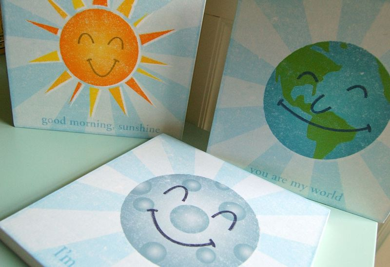 Happy Planets Series Art Blocks - Set of 3 - 9 in x 9 in - product images  of 