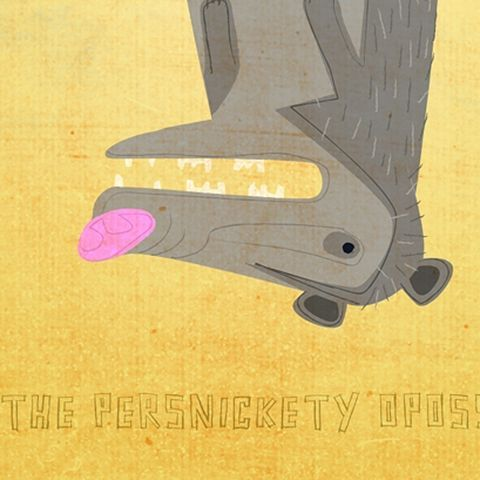 The,Persnickety,Opossum,Print,8,in,x,10,children,illustration,print,digital,animal,possum,opossum,art,yellow,gray,mustard_art,paper
