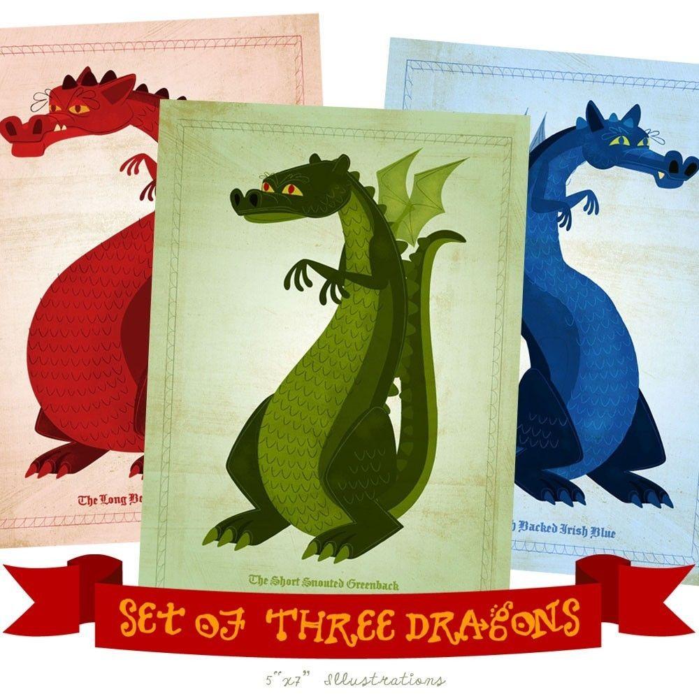 dragon art set of 3 illustrations 5 in x 7 in prints john w