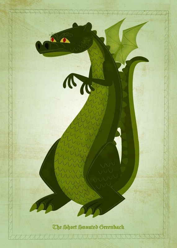 Dragon Art - Set of 3 Illustrations - 5 in x 7 in Prints - product images  of