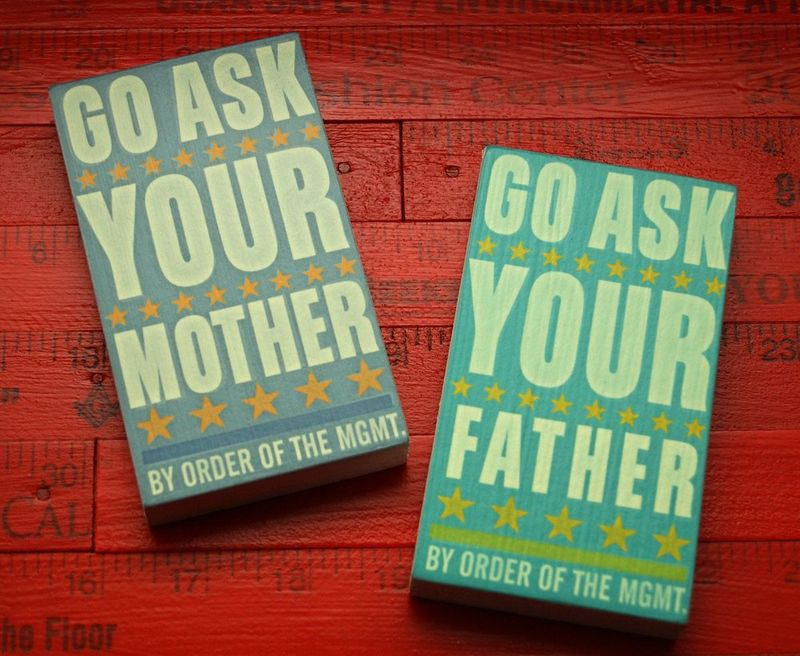 Set of Two - Go Ask Your Father - Go Ask Your Mother Art Blocks - 2.625 in x 4.5 in - product images  of