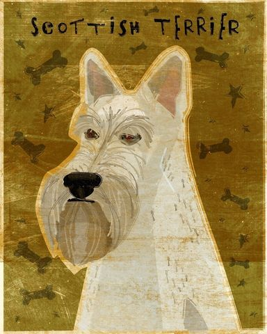 Scottish,Terrier,Wheaten,Print,8,x,10,Art,Illustration,digital,whimsical,cute,dog,animals,animal,terrier,scottish,scottie,aberdeen,paper,ink