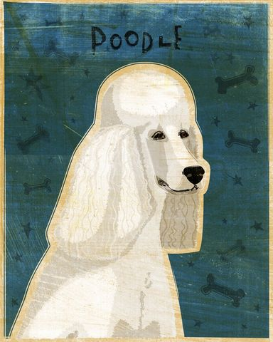 Poodle,(White),Print,8,in,x,10,Art,Illustration,digital,whimsical,cute,dog,animals,animal,poodle,white,blue,paper,ink