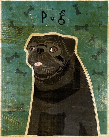 Pug,(Black),Print,8,x,10,Art,Illustration,digital,whimsical,cute,dog,animals,animal,pug,black,paper,ink