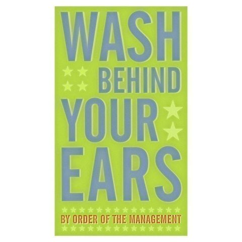 Wash,Behind,Your,Ears,Print,6,in,x,10,Children,Art,baby,nursery,wash,ears,art,illustration,digital,print,green,blue,text,paper,computer
