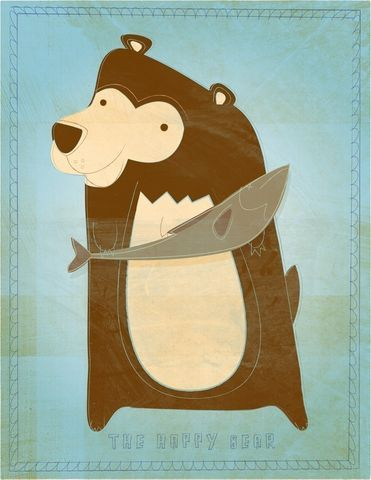 The,Happy,Bear,Print,8,in,x,10,Children,Art,illustration,print,digital,bear,animal,art,blue,light_blue,brown,cute,kids,paper,ink