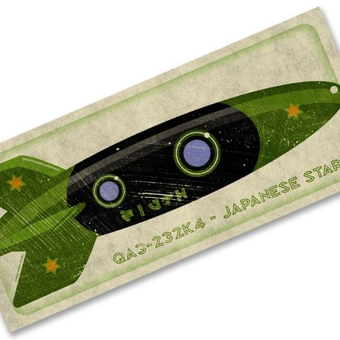 Japanese,Star,Tin,Toy,Rocket,Box,Art,Print,7.78,in,x,18,art,toddler,illustration,print,digital,john_w_golden,children,sci_fi,space,rocket,green,black,paper,computer