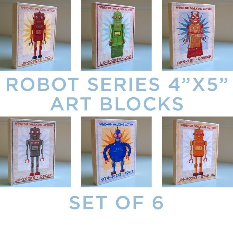 Robot Series Art Block - Set of 6 - 4 in x 5 in - product images  of
