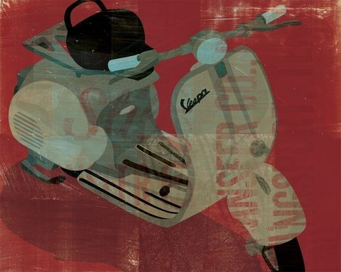 Vespa,No.,1,Print,8,in,x,10,Art,paper,print,color,vespa,scooter,125,red