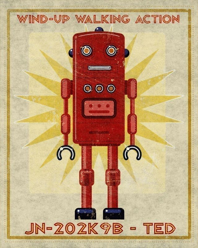Robot Art Print - Ted Box Art Robot 8 in x 10 in - product images  of