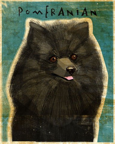 Pomeranian,-,Black,Dog,Art,Print,8,in,x,10,Illustration,whimsical,cute,animals,dog_art,pet,puppy,Dog_Print,Pomeranian_art,Pom,black,paper,ink