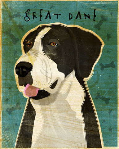 Great,Dane,Number,8,-,Black,Mantle,Dog,Art,Print,in,x,10,Illustration,whimsical,cute,animals,dog_art,pet,puppy,Great_Dane,Great_Dane_Art,Dog_Print,black_mantle,paper,ink