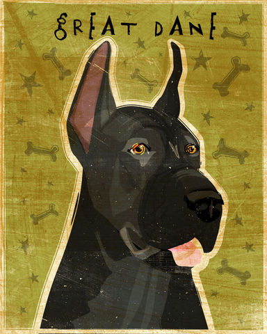 Great,Dane,Number,9,-,Black,Dog,Art,Print,8,in,x,10,Illustration,whimsical,cute,animals,dog_art,pet,puppy,Great_Dane,Great_Dane_Art,Dog_Print,black,paper,ink
